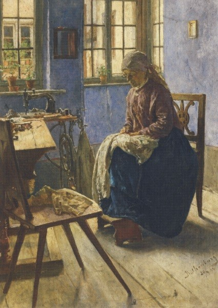 Adolf Hölzel. Die Näherin, 1884