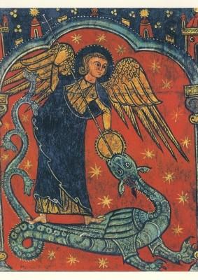 Romanisch. Michael der Drachentöter, ca. +- A4. KD