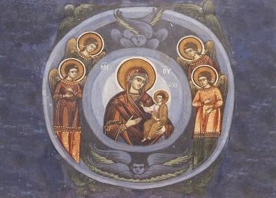 Byzantinisch. Muttergottes mit Kind und Engeln. Rumänisch KK