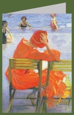 Lavery, John. Lesendes Mädchen im roten Kleid, 1887. DK