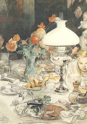 Larsson, C. Um die Abendlampe, 1900. KK