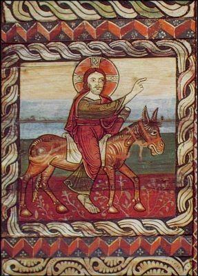 Einzug in Jerusalem. Älteste Romanische Kirchendecke. KK