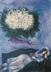 Marc Chagall. Liebespaar m. Blumenbouquet u. Geigensp. Engel