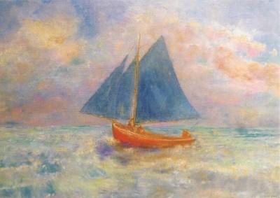Odilon Redon. Rotes Boot mit blauem Segel, 1906-07