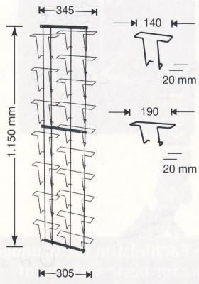 Doppelkarten-Wandtafel silber. 34,5 x 115 cm
