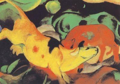 Franz Marc. Kühe rot, gelb, grün