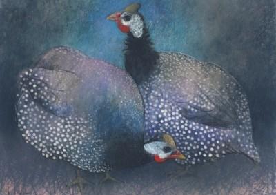 Loes Botman. Zwei Perlhühner, 2014 Pastell....