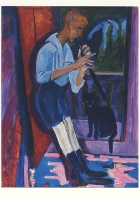 Ernst Ludwig Kirchner. Der Flötenspieler (Hans Staub), 1922