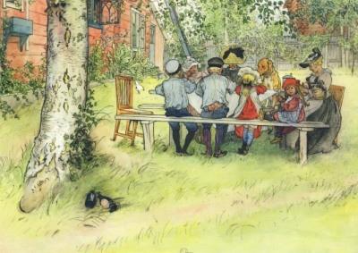 Carl Larsson, C. Frühstück unter der großen Birke