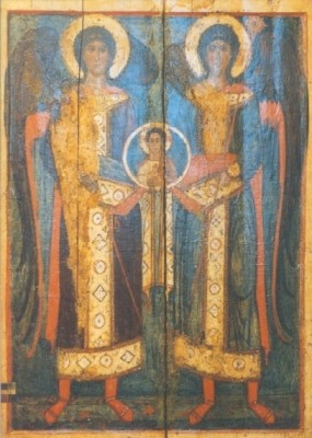 Russische Ikone. Die Erzengel Gabriel und Michael. KK