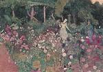 Reylaender, Ottilie. Blühender Garten, 1908. KK