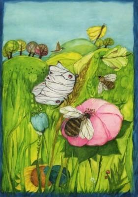 Eva-Maria Ott-Heidmann. Biene, Blüte, Schmetterling