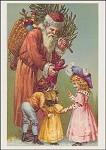 Der Weihnachtsmann mit Kindern. Altes Motiv um 1900. KK