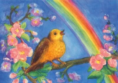 Dorothea Schmidt. Vogel auf Baum mit Regenbogen