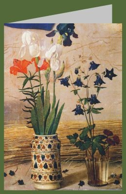 Hugo van der Goes. Anbetung der Hirten, Detail: Iris+Akelei