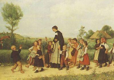 """Albert Anker. Der Schulzpaziergang, """"2. Wahl"""""""