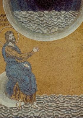 Teilung des Wassers 3, um 1174. Mosaik. KK