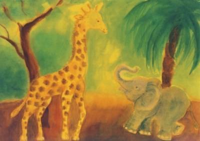 Dorothea Schmidt. Giraffe und Elefant