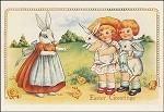 Kinder mit Osterhasen. Altes Motiv um 1900. KK