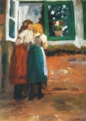 Thomas Herbst. Zwei Mädchen am Fenster, um 1897