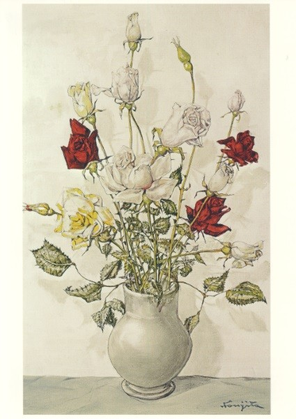 Tsugouharu Leonard Foujita. Rosen in einer Vase