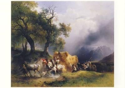 Gauermann, Friedrich. Der Erntewagen, Ausschnitt 1837. KK
