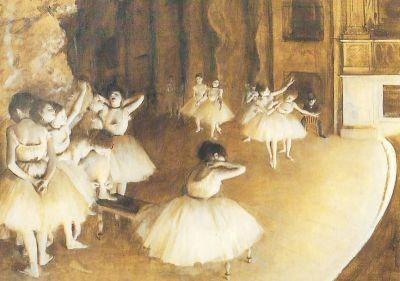 Edgar Degas. Ballettprobe auf der Bühne. KK