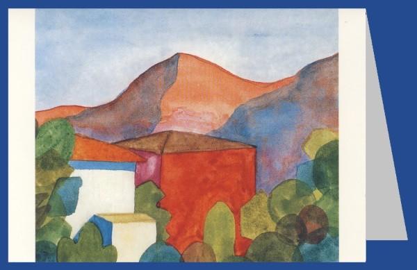 Hermann Hesse. Häuser im Tessin, Aquarell 1922