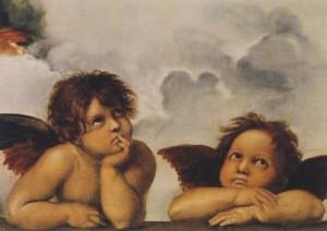 Raffael. Zwei Engel, Ausschnitt Sixtinische Madonna