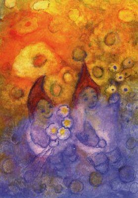 Jula Scholzen-Gnad. Die Zwerge freuen sich über die Blumenpr