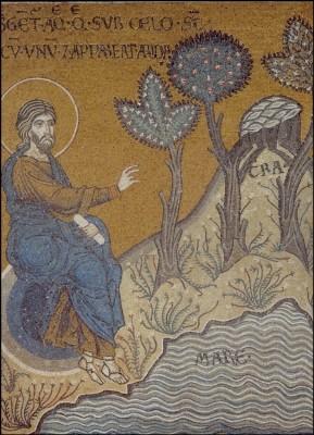 Teilung der Erde 4, um 1174. Mosaik. KK