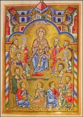 Psalter. Ausgießung des Heiligen Geistes, Anf. 13. Jh. KK