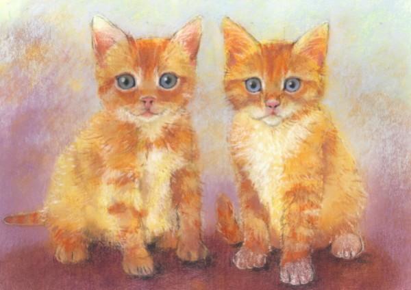 Loes Botman. Zwei Kätzchen, 2014 Pastell