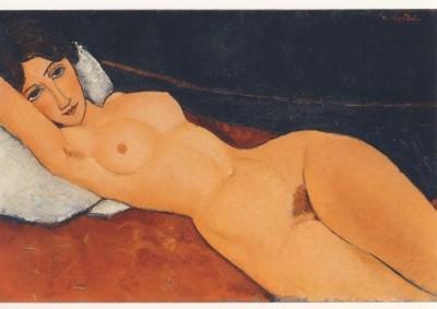 Amedeo Modigliani. Liegender Frauenakt auf weissem Kissen