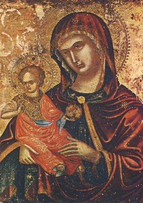 Konstantinopler Schule. Ikone, Die Jungfrau mit Kind, 14.Jh.