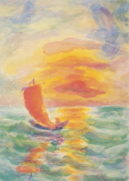 Hilde Boos. Sonnenuntergangam See, 1956