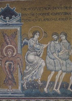 Vertreibung aus dem Paradies, um 1174. Mosaik. KK
