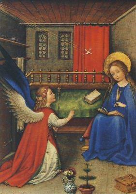 Oberrheinischer Meister. Die Verkündung an Maria,um 1420. KK