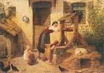 Jakob Dielmann. Idylle auf dem Bauernhof, ca. 1845