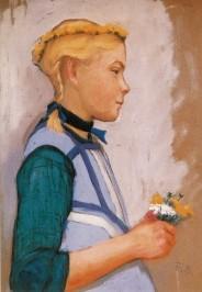 Elisabeth Büchsel. Hiddenseer Mädchen mit Blumenstrauß, o.J