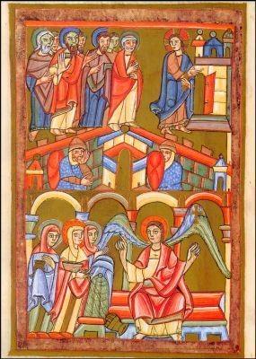 Die Frauen am Grab und Christus mit den Jüngern, 11. Jh. KK