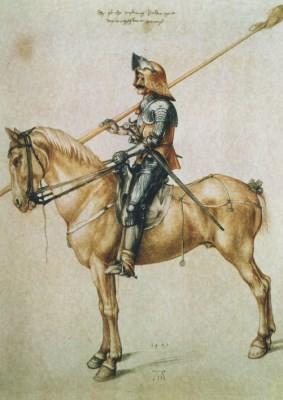 Albrecht Dürer. Gewappneter Reiter, 1498