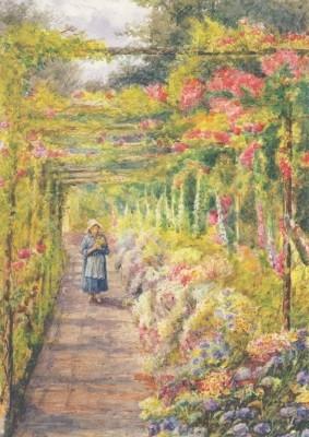 Junges Mädchen unter einer Rosenpergola, Englische Schule