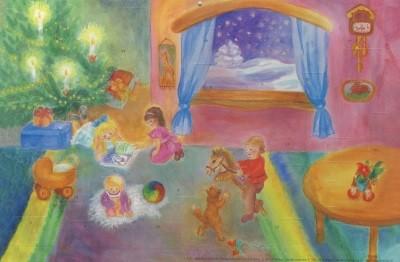 Dorothea Schmidt. Weihnachten bei uns zu Hause. 47x31cm