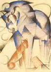 Franz Marc . Fabeltiere, Pferd und Hund, 1913