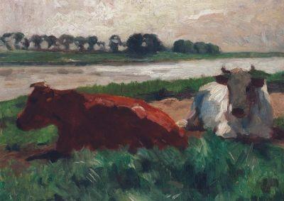 Thomas Herbst. Liegende Kühe am Fluss, um 1900