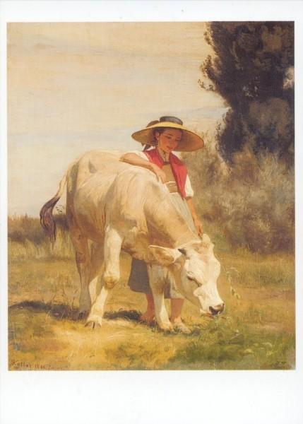 Koller, Rudolf. Mädchen mit Rind, 1866. KK