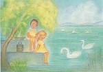 Ruth Elsässer. Juli - Zwei Kinder am Ufer des Sees. KK