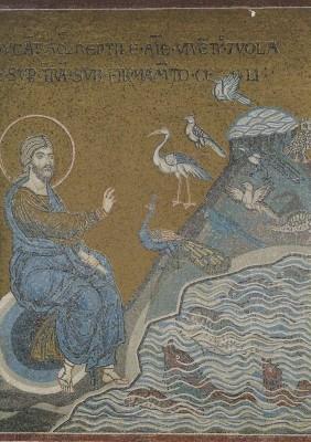 Erschaffung der Vögel und Fische, um 1174. Mosaik. KK