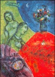 Marc Chagall. Selbstbildnis mit Blumenstrauß. KK